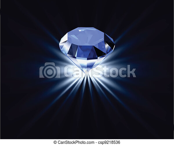 Blue diamond with reflection. Vector bright background - csp9218536