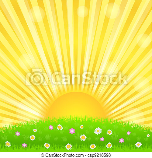 Sunburst and green meadow with flowers - csp9218598