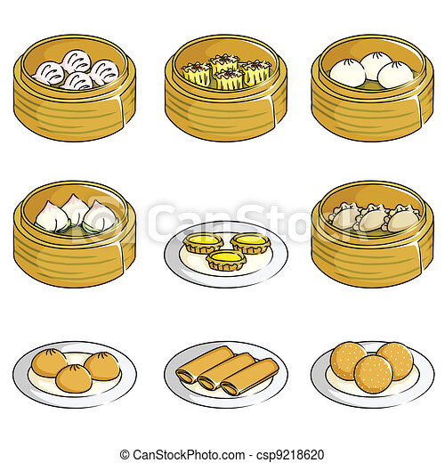 Chinese Dumpling Drawing Chinese Dim Sum Icons a