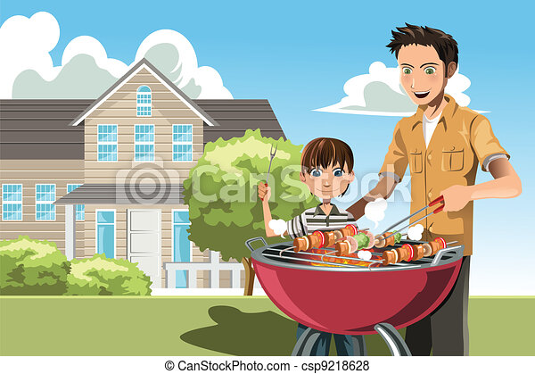 Father and son doing barbecue - csp9218628