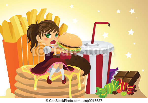 Girl eating junk food - csp9218637