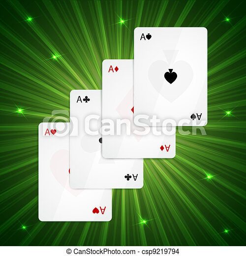 Four aces on green background - csp9219794