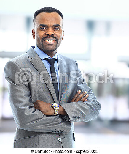 Closeup portrait of a successful African American business man - csp9220025