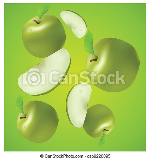 juicy vector apples with sections - csp9220095