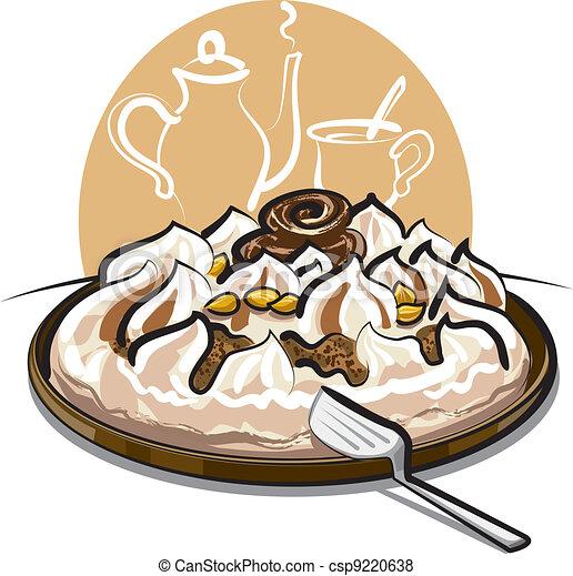 Vector of ice cream cake and tea - ice cream cake and tea ...
