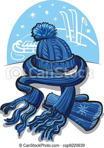 winter clothing, wool scarf, mitten - csp9220639