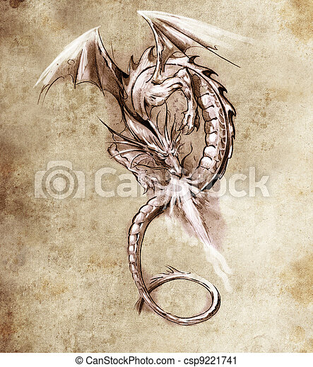 Fantasy dragon. Sketch of tattoo art, medieval monster - csp9221741