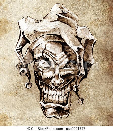Fantasy clown joker. Sketch of tattoo art over dirty background - csp9221747