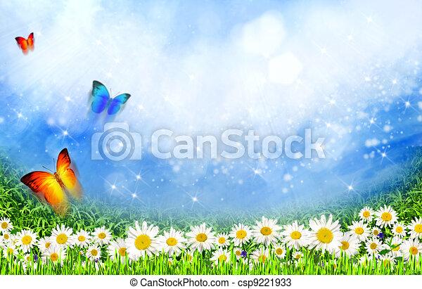 Dibujos de verde, campo, margarita, flores, debajo, luz del sol ...