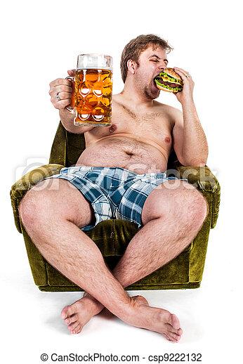 fat man eating hamburger - csp9222132