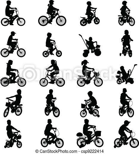 children riding bicycles - csp9222414