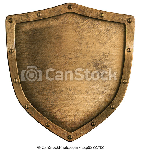 aged brass or bronze metal shield isolated on white - csp9222712