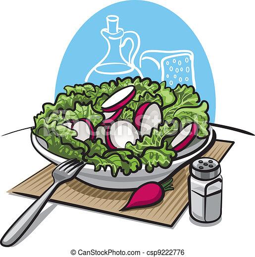 fresh green salad with radish - csp9222776