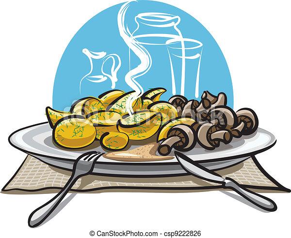 boiled potatoes and mushrooms - csp9222826