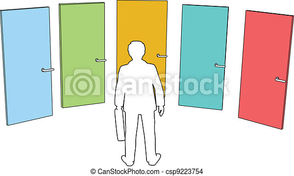 Business person choose doors choices decision - csp9223754