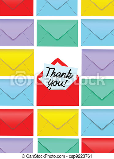 Thank You note open colorful envelopes - csp9223761
