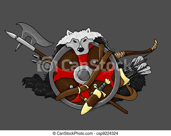 shield medieval hand drawing - csp9224324