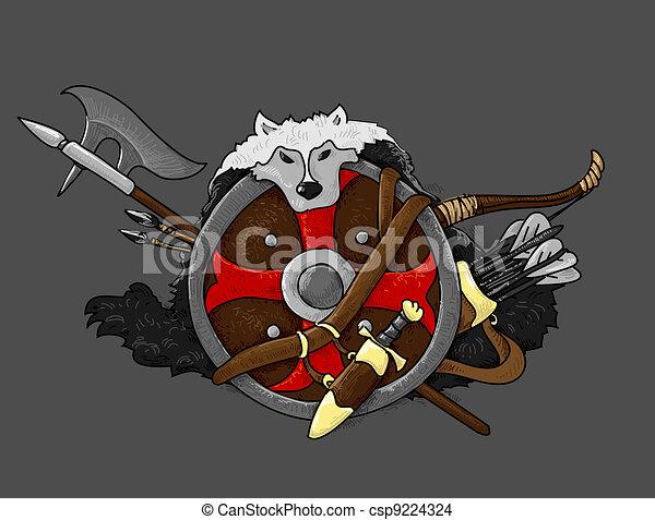 shield medieval hand drawing - csp9224324