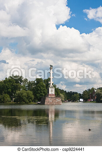 Chesme Column in Tsarskoye Selo commemorates three Russian naval victories in the Russo-Turkish War, 1768-1774, specifically the Battle of Chesma. - csp9224441
