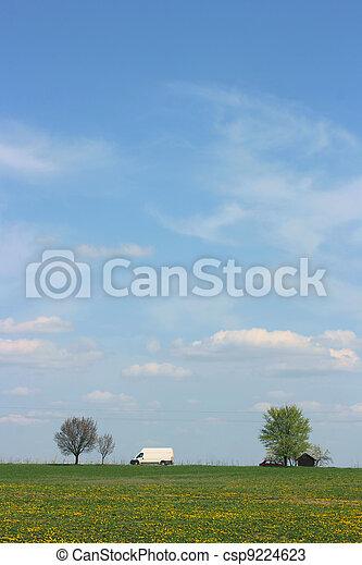Van on rural land - csp9224623