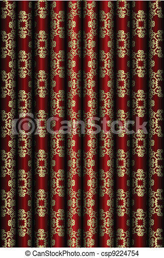Red and gold material background - csp9224754