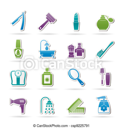 body care and cosmetics icons - csp9225791