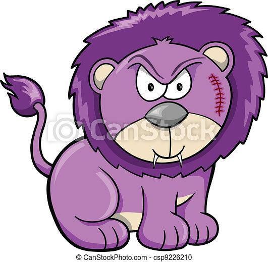 Cute Angry Safari Lion Vector  - csp9226210