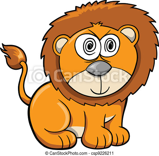 Cute Crazy Safari Lion Vector  - csp9226211