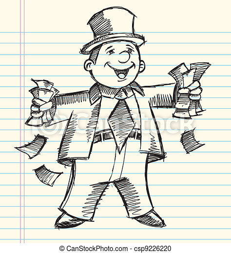 Doodle Sketch Rich Business Man  - csp9226220