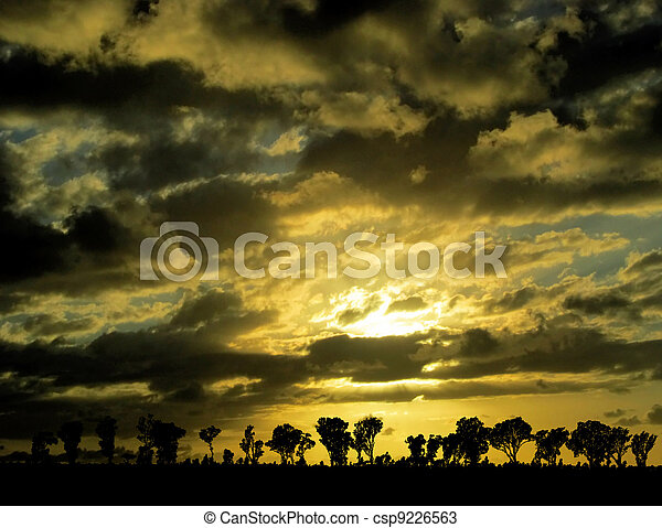 Sunset Sunrise with Nature Silhouette - csp9226563