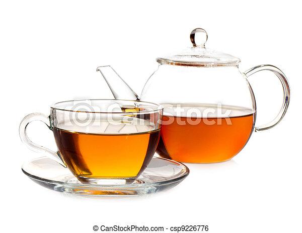tea pot with tea and cup - csp9226776