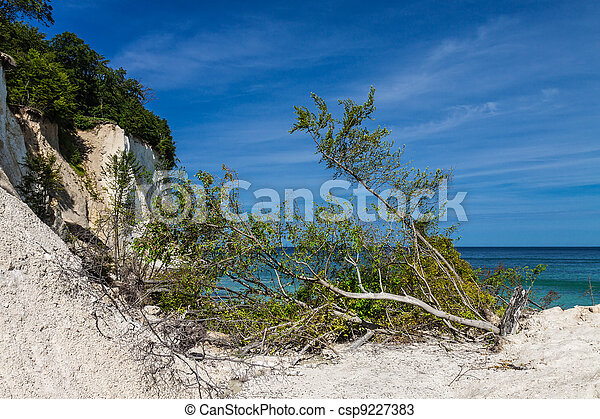 Chalk cliffs on shore of the Baltic Sea on the island Ruegen (Germany). - csp9227383