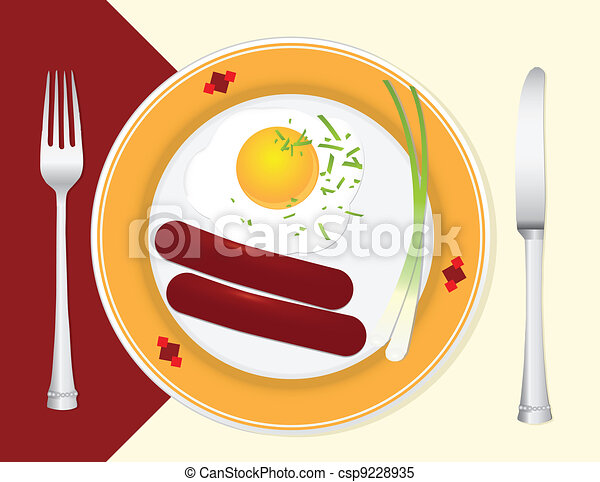 Clipart Vector of Light breakfast - A light breakfast with ...