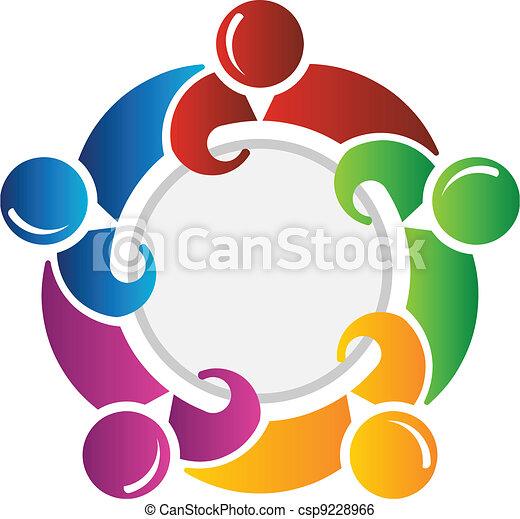 Team around circle - csp9228966