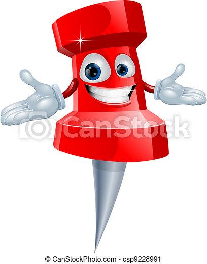 Push pin office supply mascot - csp9228991