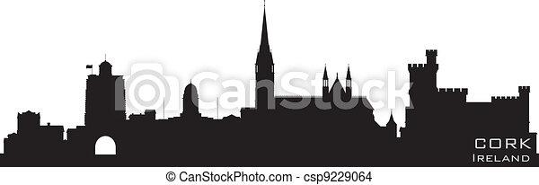 Cork, Ireland skyline. Detailed vector silhouette - csp9229064