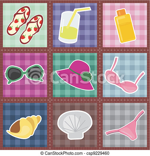 patchwork pattern with beach object - csp9229460