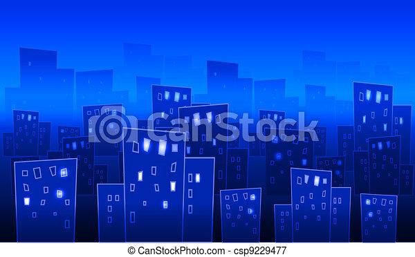 Abstract big city at night - csp9229477
