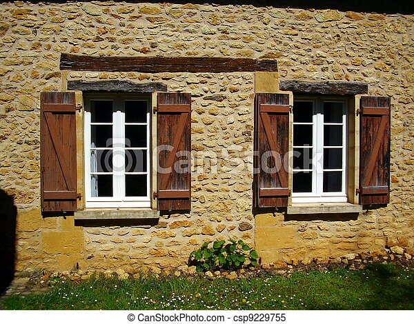 Stock images of french farmhouse window shutters for French country window shutters
