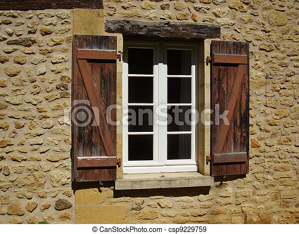 Stock photographs of french farmhouse window shutters for French country window shutters