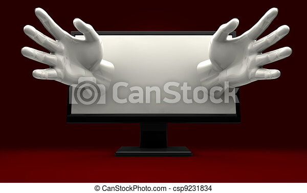 Hands Reaching out of computer monitor - csp9231834
