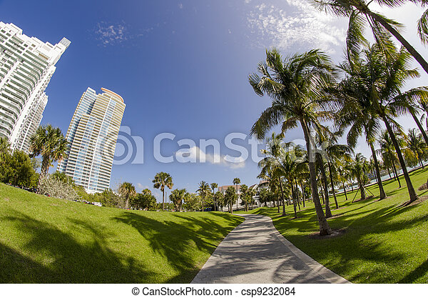 Walkway in a beautiful Park - csp9232084