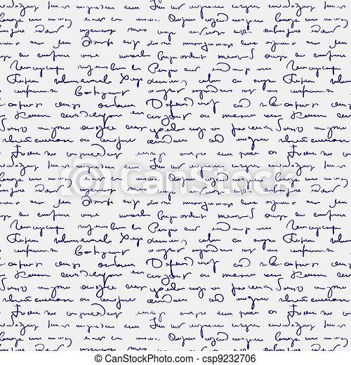 Seamless abstract handwritten text  - csp9232706