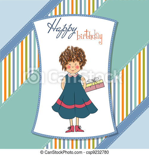 curly young girl she hide a gift  - csp9232780