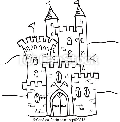Fairytale castle kingdom cartoon style - csp9233121