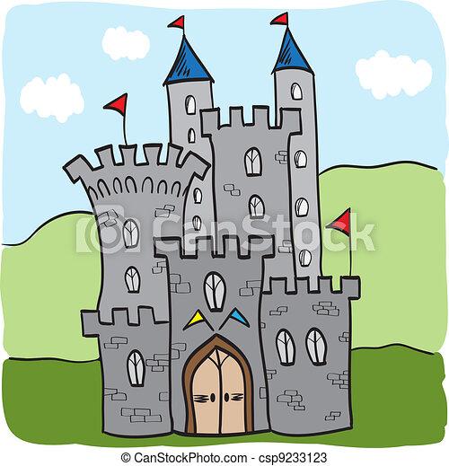 Fairytale castle kingdom cartoon style - csp9233123