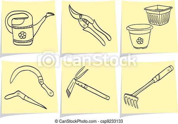 Illustration of gardening tools on yellow memo sticks - doodle style - csp9233133