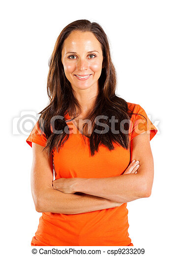 casual middle aged woman portrait - csp9233209