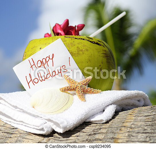 Caribbean paradise beach coconuts cocktail - csp9234095