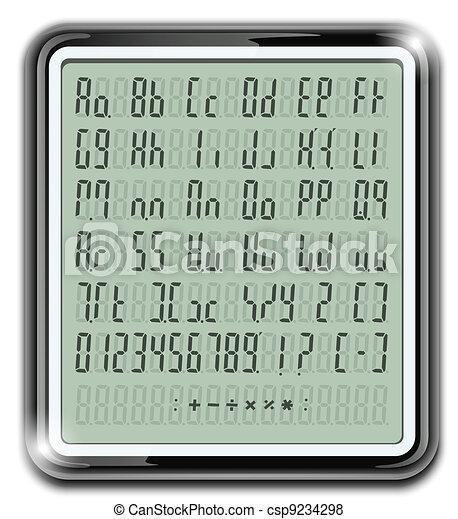 electronic calculator font - csp9234298